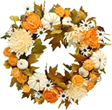 Palmhill Fall Wreath, 16.5inch Autumn Wreath for Front Door Outside Ideal for Autumn & Halloween & Thanksgiving Day