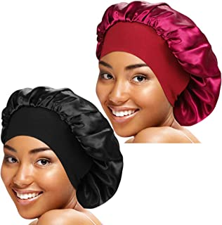 ASHILISIA 2 Pcs Wide Elastic Band Satin Sleep Bonnet Soft Night Sleeping Cap for Women
