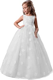 TTYAOVO Girls Pageant Princess Flower Dress Kids Prom Puffy Tulle Ball Gowns Size 12-13 Years White