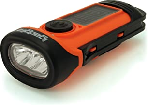 igadgitz Xtra U4456 Waterproof to 16ft (5m) Eco Rechargeable Solar and Hand Crank LED Torch Flashlight with 5 Year Warranty - Orange/Black