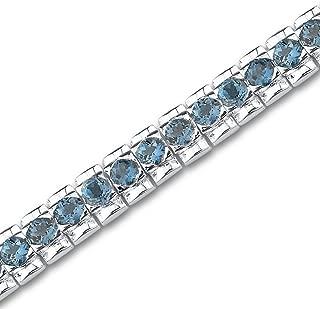 11.25 Carats London Blue Topaz Tennis Bracelet Sterling Silver Round Cut