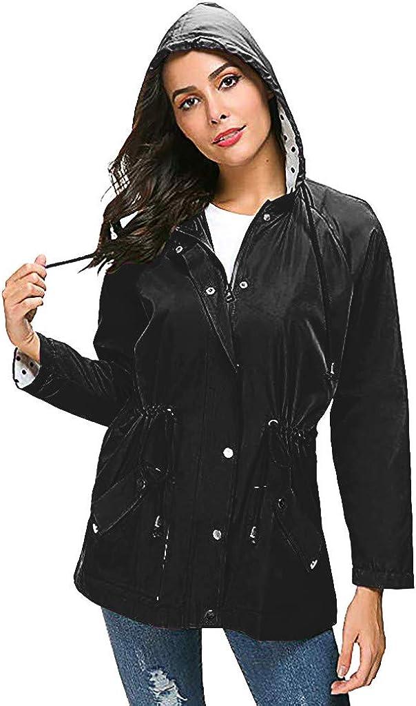 Yowablo Damen Windbreaker Übergangjacke Lange Regenjacke mit Kapuze Jacke Mantel 6- Schwarz