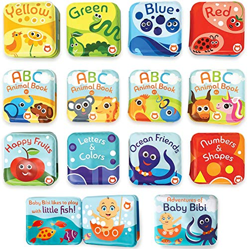 Baby Bath Books Mega Set (Pack of 13 Books) - Educational Waterproof Baby Bathtime Plastic Books for Bath Tub with Animals  Colors  Numbers and ABC Letters - Learning Toy Books for Babies and Toddlers
