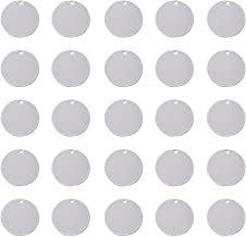 Pandahall 50pcs 304 Stainless Steel Blank Stamping Message Word Tag Pendants Flat Round Charms for DIY Jewelry Making 0.9 Inch in Diameter