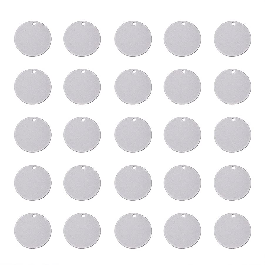 Beadthoven 50pcs 304 Stainless Steel Blank Stamping Tag Pendants for Jewelry Making Bracelet Earring Pendant Charms Flat Round 23x1mm(About 7/8''Inch) Accessories Finding Supplies
