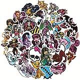 DSSK 50 Piezas de animación Creativa Graffiti Pegatina Monster High Laptop Sticker Pack PVC Pegatina Impermeable
