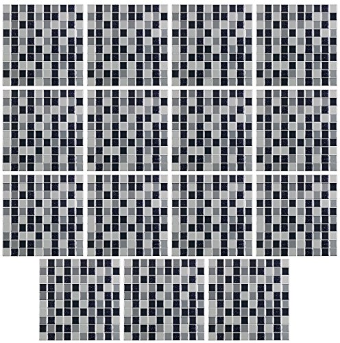 infactory Mosaik Fliesen: Selbstklebende 3D-Mosaik-Glitzer-Fliesenaufkleber, 26 x 26cm, 15er-Set (Fliesen-Sticker)