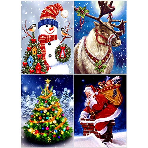 Veraing 4Pcs Christmas Diamond Painting Kits 5D Diamond Painting Pictures Arts Including Santa Claus, Snowman, Christmas Tree, Elk for Christmas Home Decor for Adults Kids