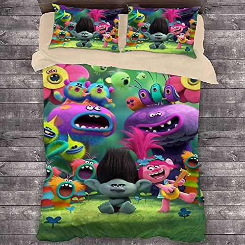 Juego de ropa de cama infantil con diseño de Trolls (1 funda nórdica y 2 fundas de almohada) (Trolls6, 140 x 210 cm + 80 x 80 cm x 2)