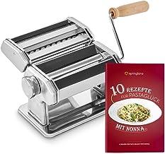 Machine à nouilles manuelle Nonna, Acier inoxydable, Machine à pâtes avec séchoir à pâtes et 3 accessoires de coupe pour spaghettis, lasagnes, tagliatelles - Classic Ease