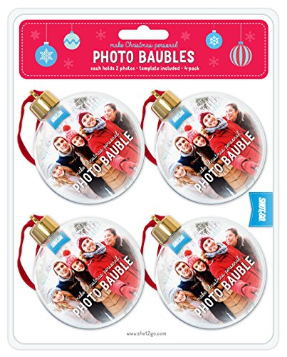 Shot2Go Palle di Natale Personalizzabili con Foto, Confezione da 4, Ogni Palla Contiene 2 Foto, sagoma Inclusa