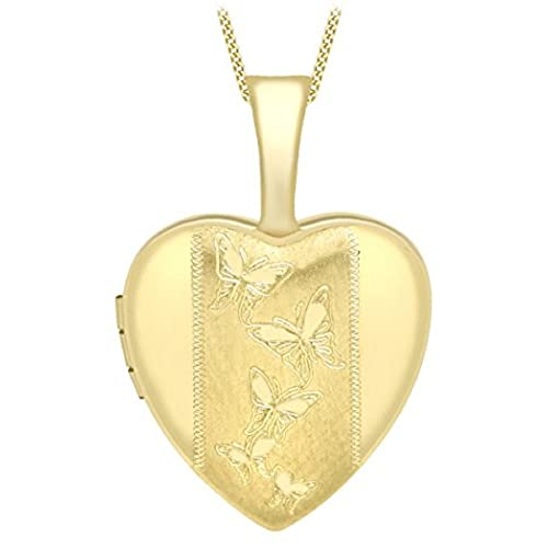 6306ec4d46a Carissima Gold Women's 9 ct Yellow Gold Etched Butterfly Detail Heart Locket  on Curb Chain of