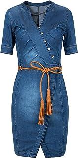bd23c356ca6 Scothen Jeans pour Femmes Jupe Manches Longues Jeans Partie Mini-Jeans Robe  Chemisier Printemps été
