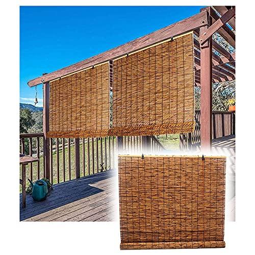 LAK Persianas enrollables de bambú, Estor Enrollable persianas de Bambu, Filtro de luz/Anti-UV/Impermeable, Cortinas de Ventana de bambú Tamaño Personalizado