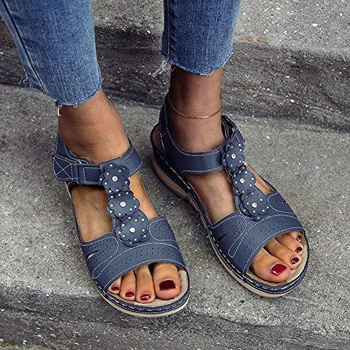 JFFFFWI Cómodas Sandalias De Cuña para Mujer Sandalias Huecas De Punta Redonda Zapatos De Suela Suave Cuero De Imitación Peep Toe Flor Moda Plana Diamante Mulas Sandalias, Azul, 43