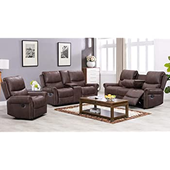 Recliner Sofa for Living Room Set Reclining Couch Sofa Chair Palomino Fabric Loveseat 3 Seater Home Theater Seating Manual Recliner Motion Home Furniture