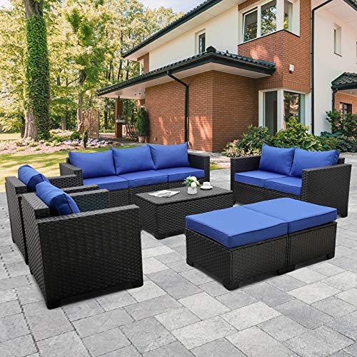 the furniture cove patio furniture sets Rattaner Patio PE Wicker Furniture Set 7 Pieces Outdoor Black Rattan Conversation Seat Couch Sofa Chair Set with Royal Blue Cushion and Furniture Covers