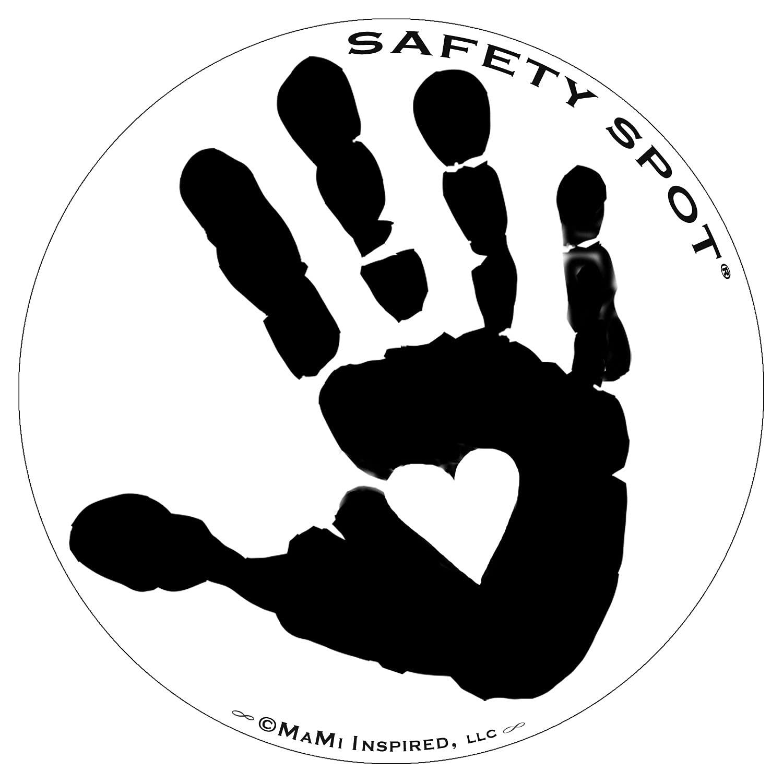 Safety Spot Magnet - Kids Handprint for Car Parking Lot Safety - White Background (Black)