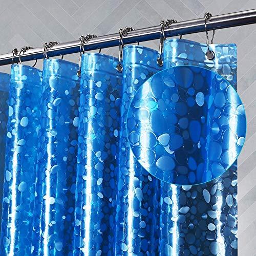Amazon Brand - Umi Duschvorhang 200x180cm, Shower Curtains Antibakteriell Vorhang für Dusche und Badewanne, Badvorhänge, Wasserdichter Badezimmervorhang, Duschvorhänge - Kiesel Blau