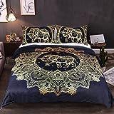 Sleepwish Gold Elephant Duvet Cover Elephant Mandala Duvet Cover Black Golden Bedding Set Cal King