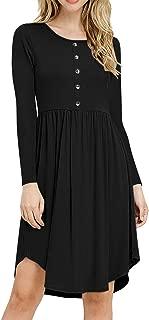 Acelyn Women Long Sleeve Dress Casual Plain Button Down Loose Swing Midi T Shirt Dresses