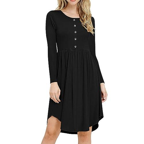 Inflower Dresses Women Tunic Long Sleeve Round Collar Slimming A-Line  Flattering Vintage Retro Casual b973da7b8