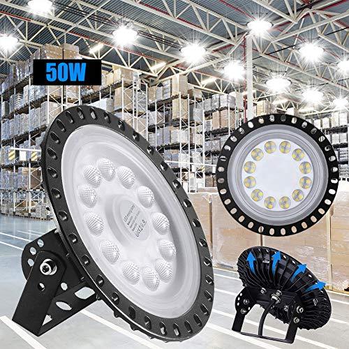 LED Industrielampe UFO, 50W LED Hallenleuchte Industrial Hallenbeleuchtung Werkstattbeleuchtung Kronleuchter, Abstrahlwinkel 120° 6000-6500K, [Energieklasse A++] (1 Stück, 50W)