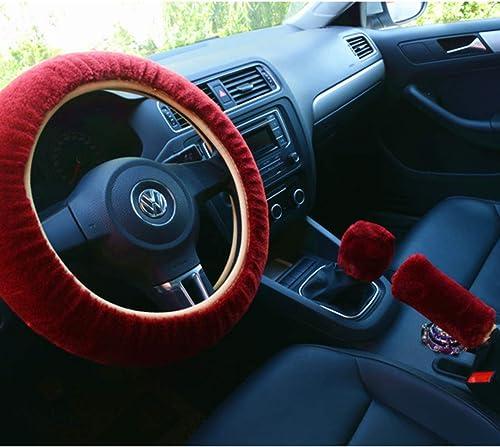 lowest Larcele Steering online sale Wheel Handbrake online Gear Shift Plush Cover, Fit for Steering Wheel Diameter 38cm/14.96inch Auto Winter Warm Protector FXPT-01 (Red) online