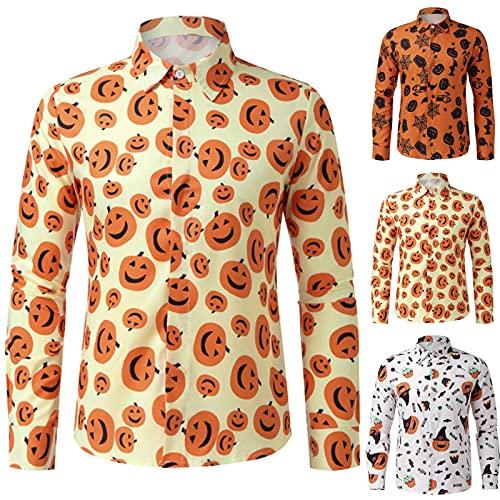 Herren Casual Langarm Top Jeanshirt Hemd mit Bronzierender Druck Halloween Herbsthemd mit Knopf Revers Slim Langarmhemd Einfache Oberteil Bequem Sweatshirt Weich Atmungsaktives Bluse Freizeitshirt