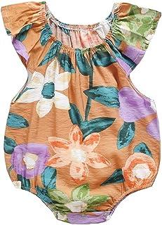 طفل الفتيات الصيف بلا أكمام طباعة داخلية القطن ملابس الطفل زهرة عارضة طفل رومبير (Color : Yellow, Kid Size : 3T)
