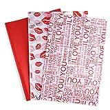 MIAHART 60 hojas de papel tisú para envolver surtidos 50 * 35 cm papel tisú para el día de San Valentín a granel 3 diseños de papel artístico para el día de San Valentín