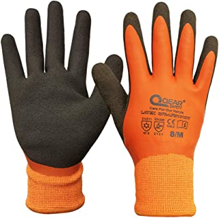 Thermal Work Safety Glove, Cold Resistance, Fleece Lining, Fully Latex Rubber Coated For Water Proof, Sandy Soft/Anti-Slip...