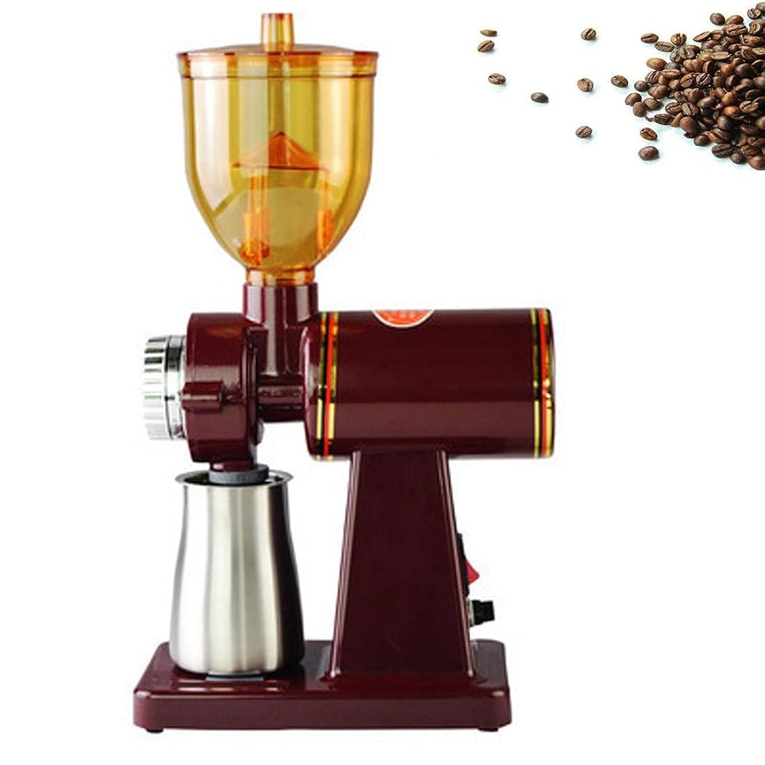 HONFAM 電動コーヒーグラインダー コーヒーミル 粗さ調節可能 レッド 110V