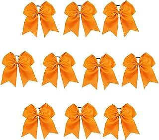 CN Girls Cheerleader Bow with Ponytail Holder for Cheerleading Girl Pack of 10 Tangerine 7INCH