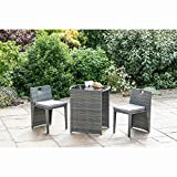SORRENTO <span class='highlight'>Rattan</span> <span class='highlight'>Effect</span> Compact Square Bistro <span class='highlight'>Set</span> 3 pcs <span class='highlight'>Garden</span> <span class='highlight'>Furniture</span>