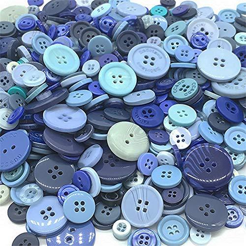 HooAMI[ホーアムアイ] ボタン 樹脂 手芸 DIY用 小中大サイズ 縫製ボタン 飾りボタン ミックス クラフトパーツ 裁縫材料 約600個(青系)