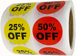 Yellow 25% Red 50% Percent Off Stickers 1 Inch Garage Yard Sale Price Sticker for Retail Store Clearance Promotion Discount Deals Circle Pricemarker Half Off Tag Stickers 500 PCS Per Roll