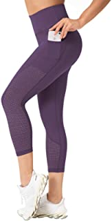 Raypose High Waist Tummy Control Capri Yoga Pants Pocket for Women Workout Running Capris Leggings