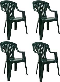 SF SAVINO FILIPPO 4 sillas Tropea de resina dura de plástico verde, apilables con reposabrazos, respaldo alto para bar, camping, fiesta, restaurante, jardín