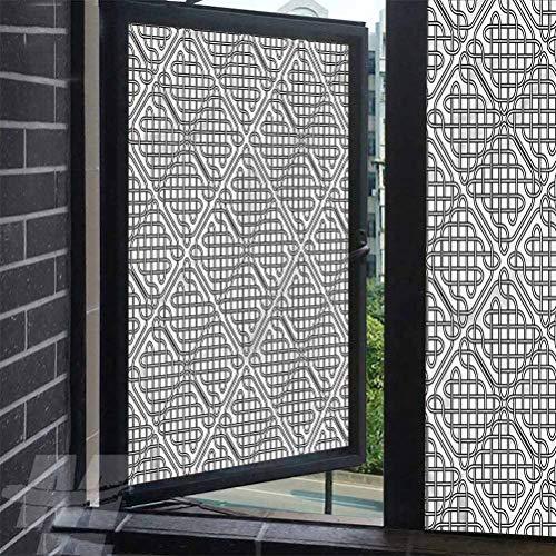ScottDecor Static Cling Window Celtic Medieval Irish Square Glass Film Decorative Static Cling 35.4 x 78.7 inches