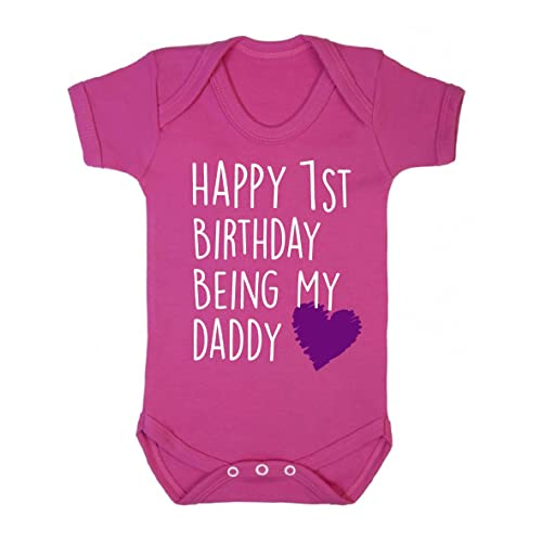 Funky Gifts Pink Happy 1st Birthday Being My Daddy Baby Vest
