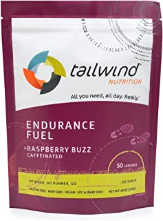 Tailwind Nutrition Caffeinated Raspberry Buzz Endurance Fuel 50 Serving - Hydration Drink Mix with Electrolytes, Carbohydr...