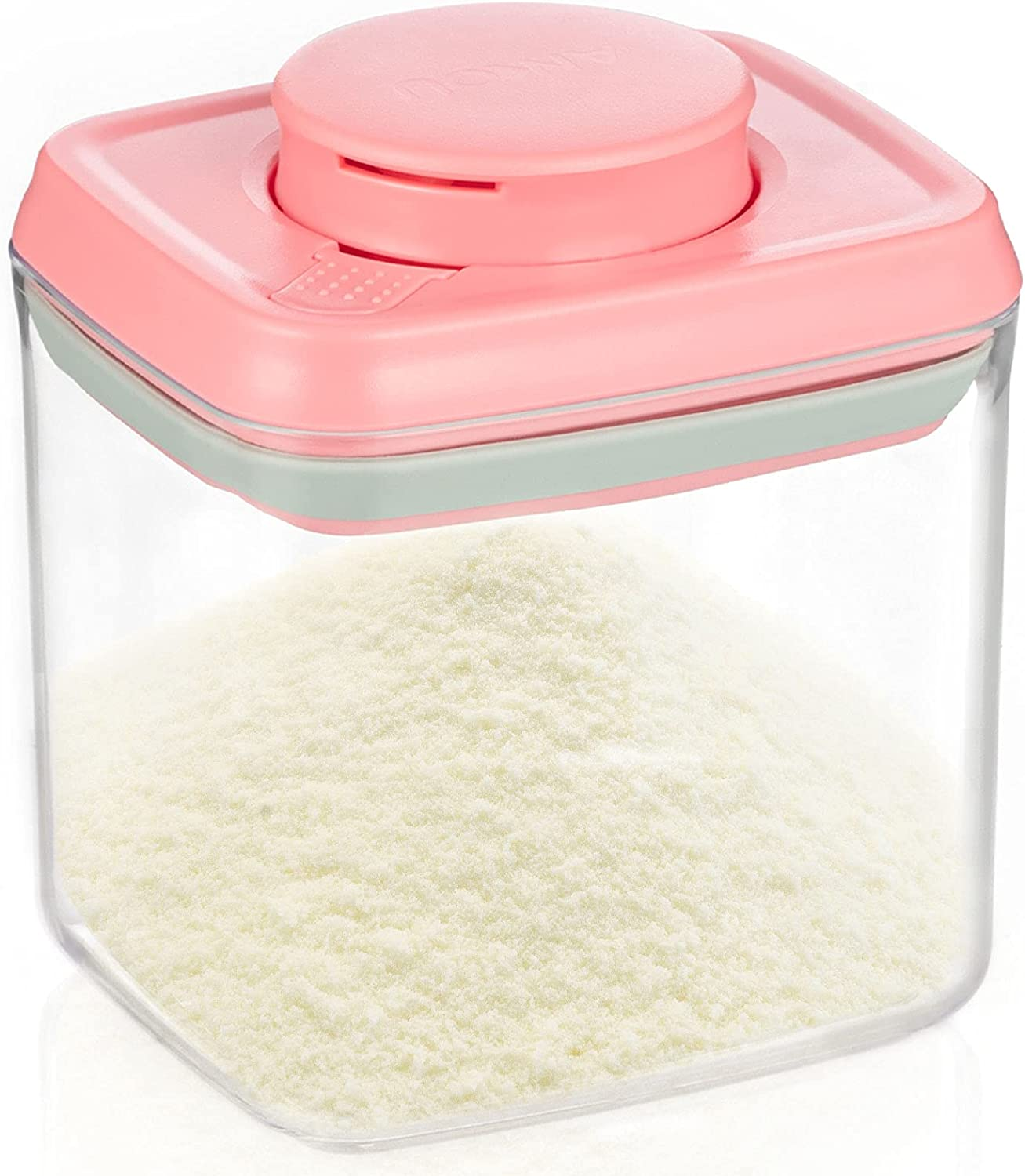 COSYLAND Ankou 0.32 Qt Push-Button Airtight Seal Container Food Storage with Seal Lids, Push-Open&Close Pack Kitchen Pantry Organization for Spices, Cereal, Flour, Sugar, Pink