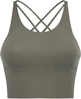 Sports Bras - Padded Seamless High Impact Support for Yoga Gym Workout Fitness with Removable Pads