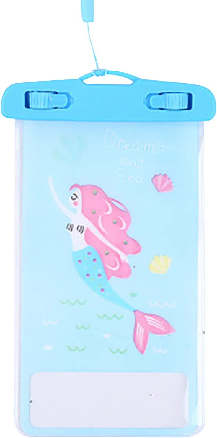 Waterproof Phone Case Pouch Cellphone Dry Bag Universal Mobile Phones Lanyard Neck Strap Touch Screen Cellphone Case Underwater Swimming Transparent (A)