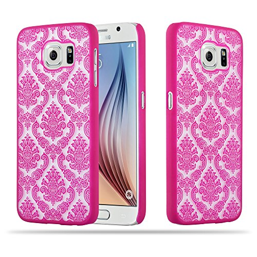 Preisvergleich Produktbild Cadorabo Hülle für Samsung Galaxy S6 - Hülle in PINK Hardcase Handyhülle im Mandala Design - Schutzhülle Bumper Back Case Cover