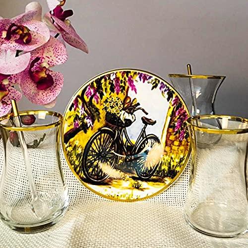Juego de té de dibujo de bicicleta de 12 piezas para 6 personas, platos de té de dibujo impreso, gafas doradas, gafas de paşabahçe