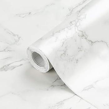 "Oxdigi Marble Contact Paper 24"" x196"" for Kitchen Countertop Cabinet Shelf Door Self-Adhesive Film Peel & Stick Wallpaper Waterproof Removable (Matt White Gray)"