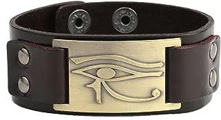 Dawapara Vintage Amulet Egyptian The Eye of Horus Metal Craft Connector Cuff Leather Bracelet Men Jewelry