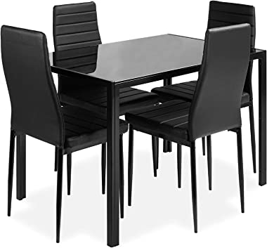 DKLGG 5-Piece Kitchen Dining Table Set for Dining Room, 4 Faux Leather Metal Frame Chairs, Dinette, Compact Space w/Glass Tab